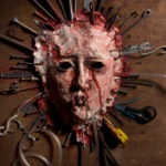 Close up of a skinned bloody face of a person stretched open on