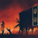 young woman standing among evil hands that comes out of the giant television, digital art style, illustration painting